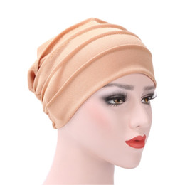 Wholesale use tie - Autumn Winter Turban Hat Pure Cotton Dual Use Solid Color Skull Caps Warmth Retention Wind Proof Cap Can Adjustable 6 3er jj