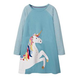Jumping Meters Girls Dresses Lake Blue Unicorn Appliques 2018 Autumn Baby Girl  Clothes Kids Long Sleeve Dress Princess Costume f18d56f01b93