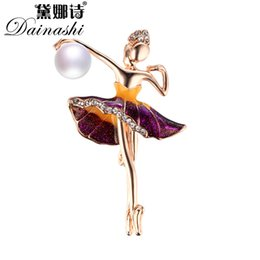 Wholesale Gifts For Ballerinas - whole sale2017 Autumn New Elegant Ballerina Pearl Brooch Pins,Vintage Brooches for Beautiful Women Girl Fine Jewelry Gift Amazing Price
