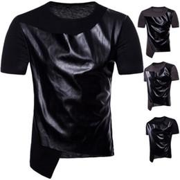 Männer tanzhemden online-US-Größe PU Trend Kurzarm Rundhals T-Shirt für Hip Hop Dance Design Herren T-Shirt S-2XL Kanye West Tee