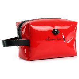 Wholesale Patent Leather Handbags Wholesale - Woman Cosmetic bag contracted lipstick handbag High Quality Patent Leather Makeup Bag Lady Cosmetic Cases Travel Organizer