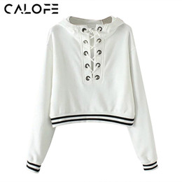 Wholesale Lace Top Sweater - CALOFE 2018 Autumn Loose Hoodie Running Jacket Patchwork Hodded Sport Jacket Women Lacing Up Hollow Out Sweaters Female Top Z30