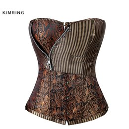 Wholesale sexy corsets for plus size - S-6XL Sexy Steampunk Corset Women Gothic Brocade Plus Size Corset Waist Trainer Cincher Shapewear Bustiers Corselet For Women