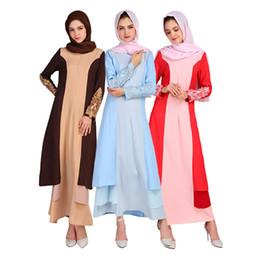 2019 скромные модные платья Мода 2018 Скромные Мусульманские Женщины Платье Длинная Юбка Лоскутное Цвета Халат Панелями Хуэй Кружевное Платье Musulmane Платья Свадебные Платья дешево скромные модные платья