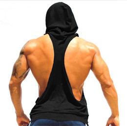 wholesale athletic clothes Promo Codes - I SHAPED Vest for Men Underwear Summer Athletic Tank Tops Clothing Hooded Loose Tees Sleeveless