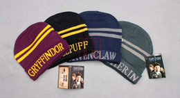 Harry Potter Hogwarts Beanie Hat Gryffindor Slytherin Hufflepuff Ravenclaw  Cap Warm Wool Knit Hat Cosplay School Striped Badge Hats 0e7592814cc9