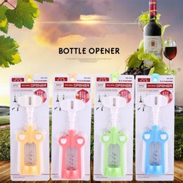 Wholesale Wholesale Plastic Wine Bottles - Plastic Wine Bottle Opener Handle Pressure Corkscrew Red Wine Opener Kitchen Accessory Bar Tools with Retail Package OOA5027