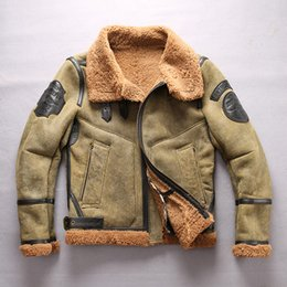 Wholesale Real Fur Suits - AVIREXFLY Mens Leather Jacket US B3 Air Force Flight Suit real Sheepskin Leather with Fur Male Inclined Zipper