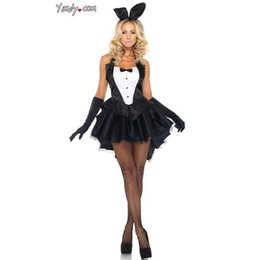 Wholesale Magician Costume Women - Midnight Charm Tuxedo Bunny Suit Magician Costumes Halloween Costumes Game Uniforms