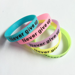 Wholesale Glow Dark Silicone Bracelets - whole saleNew Fashion Silicone Rubber Bracelet Never Give Up Print Glow in the Dark Luminous Sport Wristband