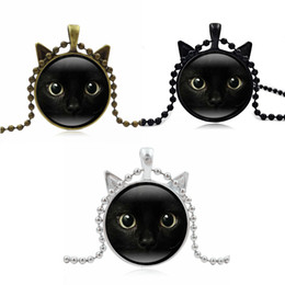 vintage cat necklace Promo Codes - 3 Colors Chain Black Cat Picture Vintage Necklace Pendant Message Jewelry For Women Unique Glass Time Stone Girl Gift D598S