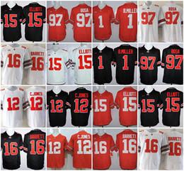 15 16 pullover online-NCAA Ohio State Buckeyes # 97 Joey Bosa # 15 Elliott # 12 C.JONES # 16 BARRETT # 1 B.Miller College Football Maglie cucite