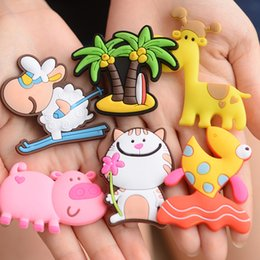 Wholesale Refrigerator Magnets Wholesale - Cartoon Fridge Magnets Stereo Animals Coconut Tree Shape Silicone Refrigerator Magnet For Home Decor Whiteboard Sticker Hot Sale 0 3dc B