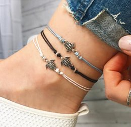 Wholesale Rope Anklets - 2018 New product selling Tassel tortoise Wax rope hanging Multilayer anklets women bead Foot ornaments Free shipping 32