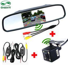 Монитор для парковки онлайн-GreenYi 2.4 GHz Беспроводной Помощи При Парковке Автомобиля Видео Монитор Системы Камеры, 4.3-Дюймовый Зеркальный Монитор С Беспроводной Камеры Комплект