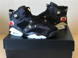 Wholesale Table Tennis Shoes Free Shipping - Retro 6 CNY Chinese New Year Men Basketball Shoes Metallic Gold-Multi Noir Air 6 Basketbol Shoes Size Eur 41-47 Free Drop Shipping with Box