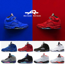 Wholesale Black Olympics - 5 men Basketball Shoes 5s Red blue Suede Olympic metallic Gold OG Black Metallic Fire Red white Grape Cement oreo Sports shoes 41-47