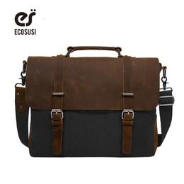 Wholesale Bag Briefcase Satchel Laptop - ECOSUSI 2017 Men's Shoulder Bags Canvas Leather Briefcase Vintage Satchel School Shoulder Messenger Bags Fits 15'' Laptop Bag