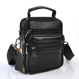 7bec75bdba4f Men Genuine Leather Handbag Small Shoulder Cross Body Bag Classic 6 Zip  Compartment Messenger Cellphone Mobile BBags Fanny