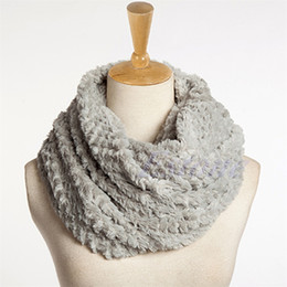 Wholesale Infinity Scarf Soft - Women Faux Fur Infinity Circle Cable Cowl Neck Winter Warmer Long Scarf Shawl Wrap 2017 Nice Lady Girl Soft Solid Ring Scarf New