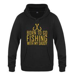 Рыболовные пуловеры онлайн-Born To Go Fishing With My Daddy Novelty Hoodies Men 2018 Men's Pullover Fleece Hooded Sweatshirts
