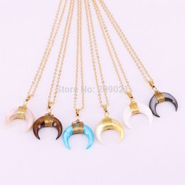 Wholesale Horn Wiring - 6Pcs Mixed Colors Gold Color Wire Wrap Double Horn&moon crescent shape Rainbow Shell Pendant Chain Necklaces