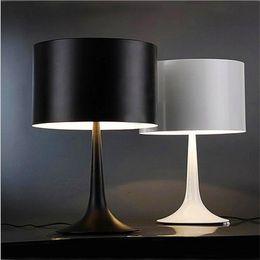 Wholesale Paint Table - Modern simple lamp creative fashion iron gentleman lighting bedroom bedside light black white decorative table lamp mushroom cylinder E27