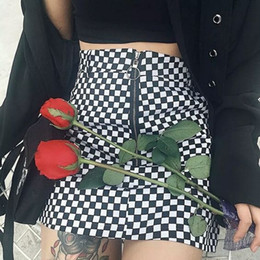 392e0dd7a472 Wipalo checkerboard high waist skirt 2018 summer sexy mini skirt zipper  unif checkered skirts womens short bottom saia gothic