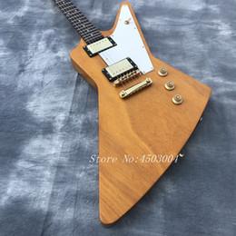 OEM Usine Qualité Livraison gratuite Flying V forme + couleur jaune + corps haut acajou corps et cou de haute qualité Guitare électrique ? partir de fabricateur