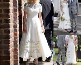 Wholesale Sheer Ankle Length Robe - Chic Silk-like Chiffon Bateau Neckline Ankle-length A-line Wedding Gowns line wedding dress tea length robe mariage bateau