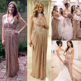 Wholesale Bling Sheath Wedding Dress - Bling Bling Sequined Bridesmaid Dresses 2018 V Neck Ruched Long Maid of Honor Wedding Guest Dress