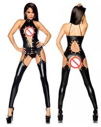 2020 виниловый комбинезон Сексуальное женское белье черный ПВХ мокрый вид искусственной кожи винил комбинезон Комбинезон #T78 дешево виниловый комбинезон