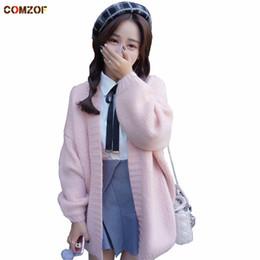 2017 autumn winter girls pink cute knitted long cardigan christmas sweater  women s korean style oversize knitwear sweet jumper a87b552b3