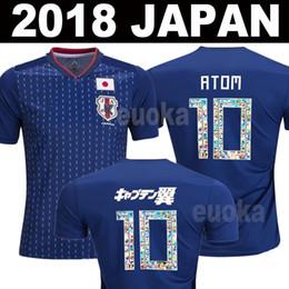 Wholesale M Cartoons - Player version Japan soccer jersey ATOM 10 CARTOON NUMBER Japan 2018 Tsubasa KAGAWA ENDO OKAZAKI NAGATOMO HASEBE KAMAMOTO Football kit Shirt