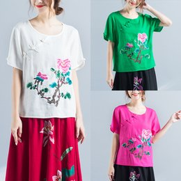 Wholesale Traditional Chinese Clothes Red - KYQIAO Traditional Chinese clothing 2018 ETHNIC shirt women summer Mexico style designer black rose red green floral blouse tee