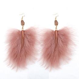 Joyería de moda mujeres avestruz pluma druzy piedra larga cuelga los pendientes de gota regalo desde fabricantes