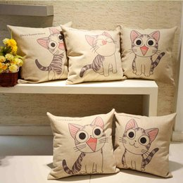 Wholesale Knitted Car Seat Covers - Cartoon Cat Printing Pillow Case Square Cushion Cover Pillowcase Wholesale Home Sofa Car Seat Decorative Pillow Cover