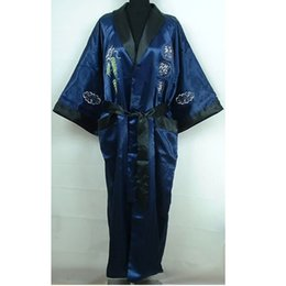 9bb4b90df Reversible Navy Blue Black Men's Satin Kimono Gown Chinese Traditional  Embroidery Sleepwear Bandage Robe One Size