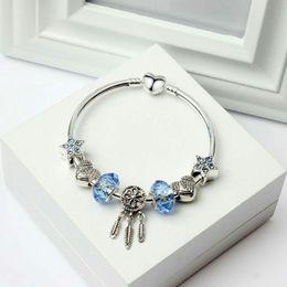 bracelets à bracelet étoilé Promotion Bracelet à breloques en argent Pandora Style Blue Star Perles Dream Catcher Dangle Pendentif Bracelet amour Perle Bricolage Accessoires De Bijoux De Mariage