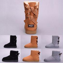 botas de invierno en línea Rebajas WGG Winter Snow Women Boot Australia Tall Short Kneel Boots Negro Gris Azul marino Navy Girl Outdoor Shoes Talla 5-10 Venta en línea