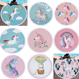 Wholesale Cute Decor - 150*150cm Cute Cartoon Printed Unicorn Microfiber Large Round Towel Outdoor Tassel Round Beach Towels Yoga Mat Home Decor Hanging Blanket