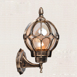 Wholesale Vintage Bronze Lamps - American vintage bronze aluminum waterproof outdoor wall sconce light fixture European cognac glass ball E27 LED bulb wall lamp