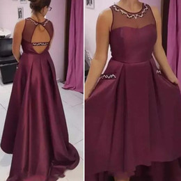 Wholesale High Low Bridesmaid - Burgundy High Low Bridesmaid Dresses For Wedding 2018 Sheer Neck Backless Maid Of Honor Gowns Sequins Beaded Formal Party Dress Custom Made