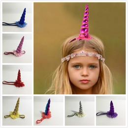 Wholesale Pink Corn - INS Uicorn Golden Corn Animal Hairband 10 Colors Hair Hoop Hairband Girl's Party Headdress Children's Flowers Gauze Headband Elegant Style