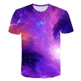2019 chemise à col galaxie BZPOVB Mode 3d Imprimer Hommes / Femmes T-shirt Espace Galaxy Col Rond T Chemises Été Hip Hop Streetwear Tops T-shirts Marque Chemise chemise à col galaxie pas cher