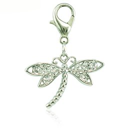 Wholesale Dragonfly Charms Jewelry - 20 pieces lot Fashion Floating Lobster Clasp Charm Dangle Metal Dragonfly Animal Charms DIY For Jewelry Making Accessories
