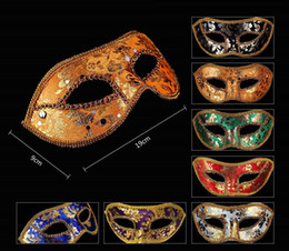 Wholesale Gold Red Masquerade Masks - Half Face Mask Halloween Masquerade mask male Venice Italy flathead lace bright cloth masks 6 colors wen5084