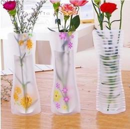 flores vaso água Desconto 50 pcs Hot Criativo Limpar Vasos De Plástico PVC Saco de Água Eco-friendly Dobrável Flor Vaso Reutilizável Casa Festa de Casamento Decoração de Flores Vasos