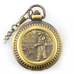Wholesale Vintage Angles - Vintage Bronze Fishing Angling Quartz Antique Quartz Pocket Watch Necklace With Chain Gift for Men and Women