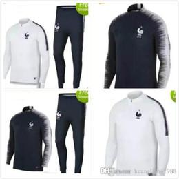 Wholesale long top coats - 17 18 france soccer tracksuit training suit 2017 2018 france survetement mbappe Tolisso Griezmann Lacazette tracksuit coat top long pants